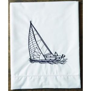 Σετ λαδόπανα πετσέτες με κέντημα καράβι 19414